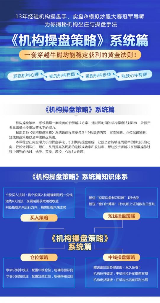 杨凯机构操盘策略系统篇机构操盘步骤系统盘 2018年10月半年课
