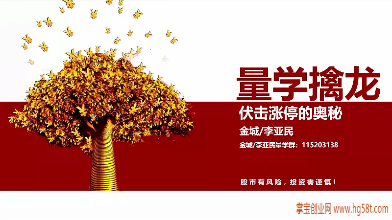 【李亚民】量学云讲堂伏击龙头课程视频教程第22期 2021年