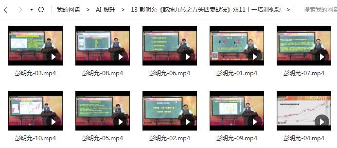 【彭明允】《乾坤九转之五买四卖战法》双十一视频培训课程