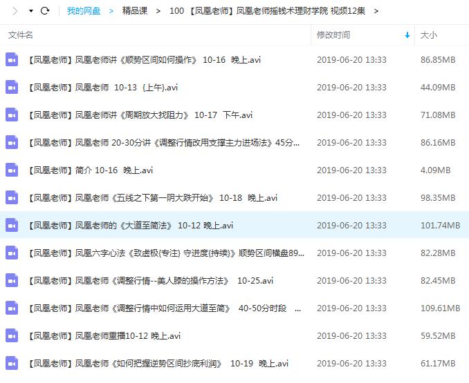 【凤凰老师】摇钱术理财学院 视频课12节