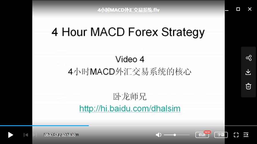 4小时MACD系列外汇交易系统高清视频培训