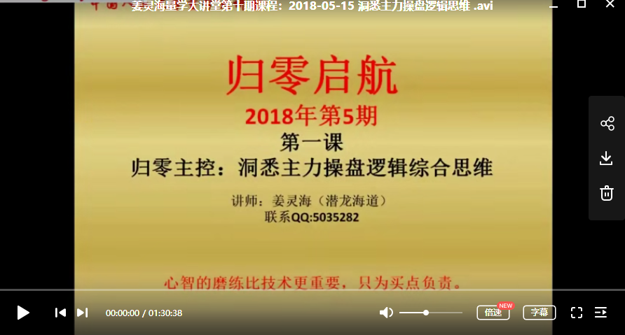 【姜灵海】量学大讲堂第10期视频培训课程(13节)