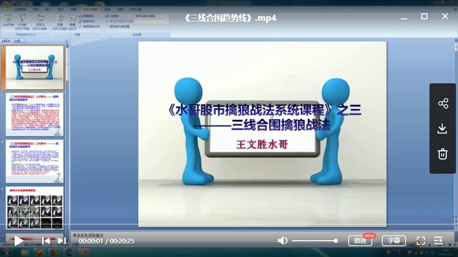 【水哥王文胜】《三线合围系列》大学堂视频培训课程5节