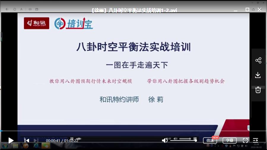 【徐丽】徐丽八卦时空平衡法 期货视频教学