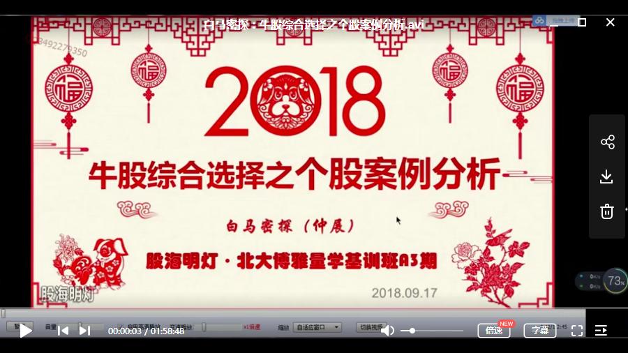 【仲展】白马密探第三期网上量学基础特训视频培训讲座(23节)