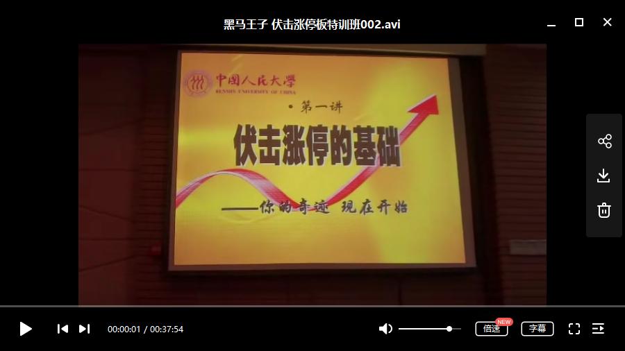 【黑马王子】 伏击涨停板特训班(中级班+高级班)视频培训讲座