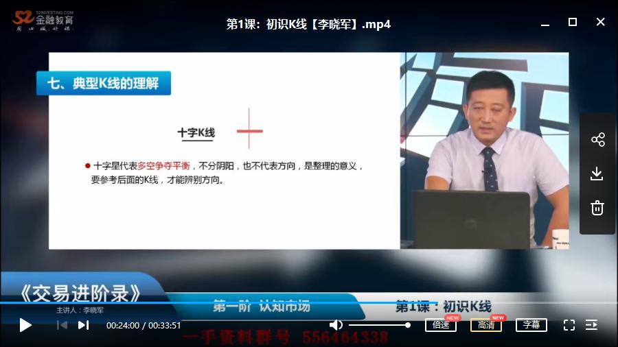 【李晓军】交易进阶录第一阶视频培训课程