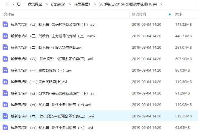 【解新忠】2015年炒股战术培训视频教学(10节)