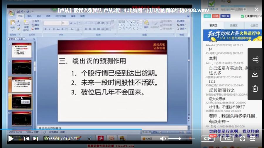 【卢丛】股民老张团队 卢从小班视频培训教学