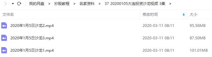 【月风先生】20200105大连股市投资沙龙视频培训(共3集)