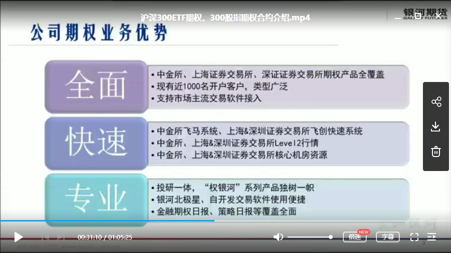 【银河期货】沪深300期权内部专题视频课程+讲义13课2019-2020