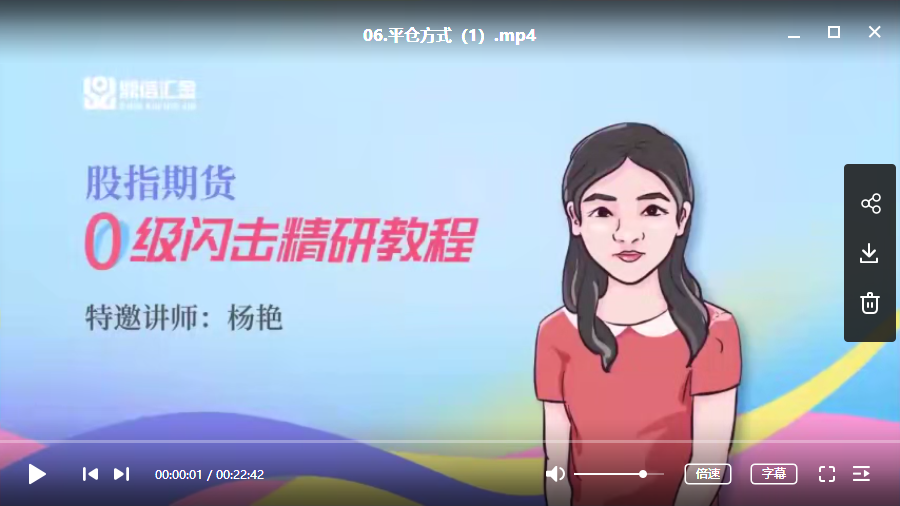 【天狼50】杨艳天狼50 股指期货培训视频课程(41讲)