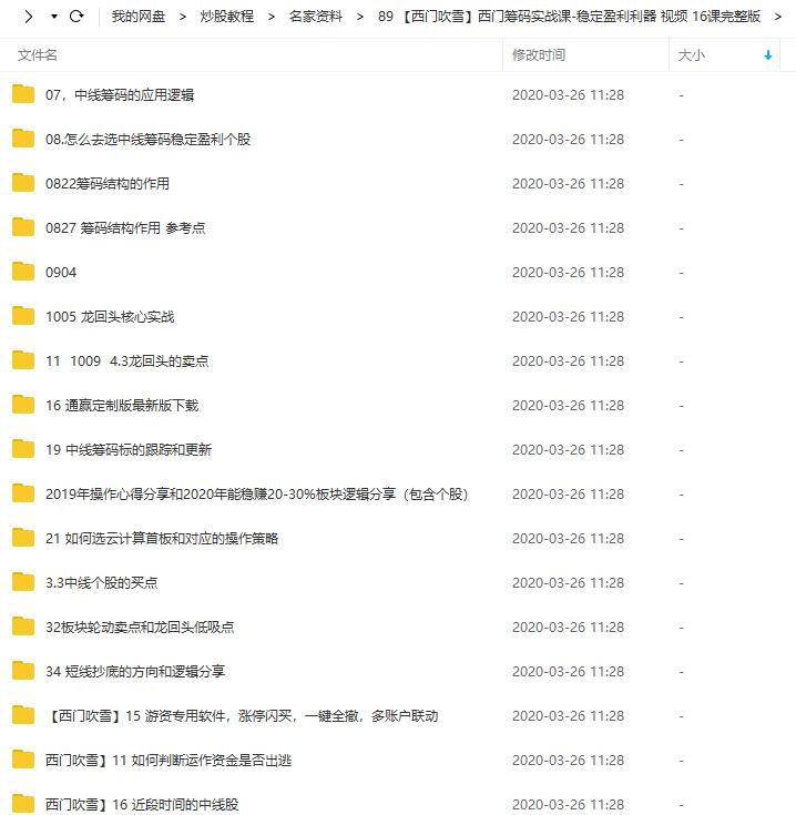 【西门吹雪】西门筹码实战课-稳定盈利利器( 2019年视频教学+课件)