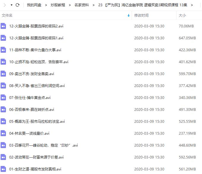 【严为民】鸿亿金融学院 逻辑买卖3期视频教学 (共13节2019年版)