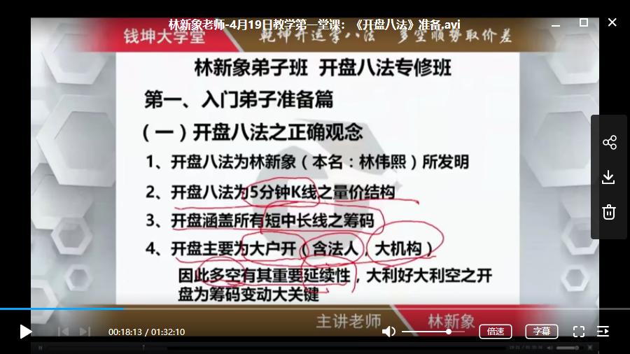 【林新象】弟子班 开盘八法专修班视频培训课程