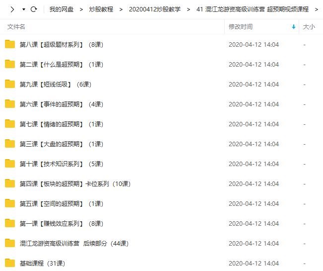 混江龙游资高级训练营 超预期视频培训课程