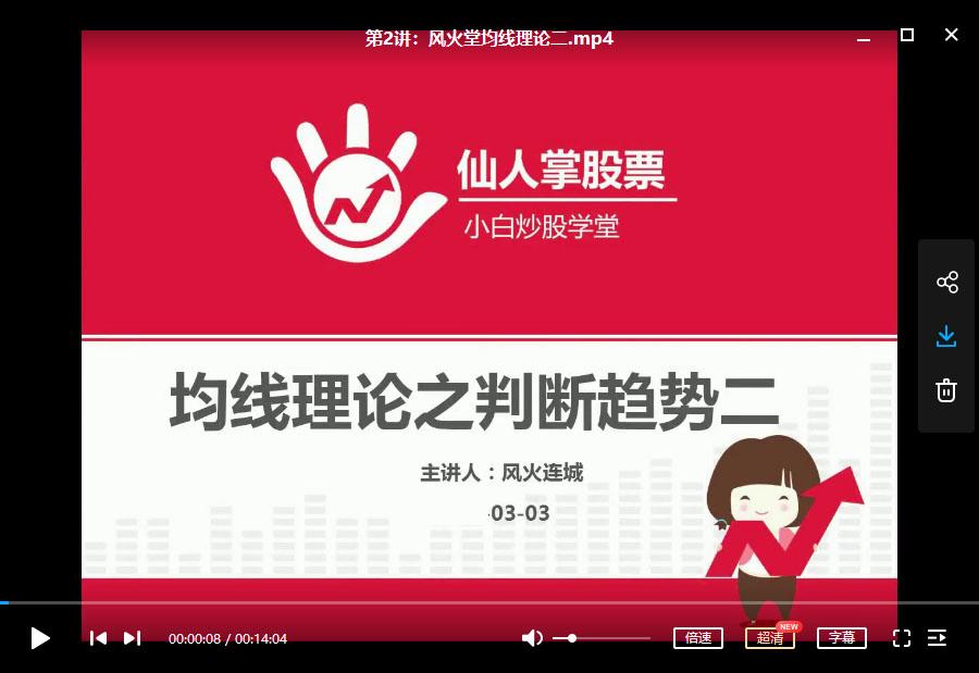 【小白炒股学堂】 仙人掌股票 风火连城—均线理论视频课程 (共9讲)