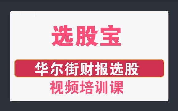 【选股宝】华尔街财报选股视频培训课