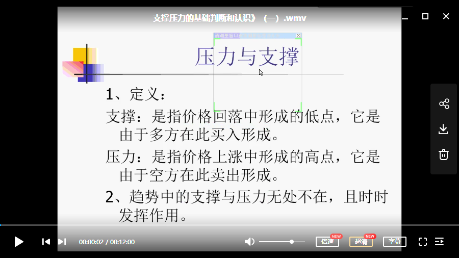 【股民培训】 股民专业培训视频课程–支撑压力与形态系列 (共6讲)
