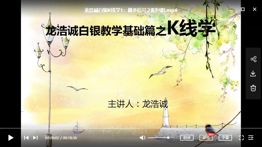龙浩诚白银K线学(共20讲)【现货白银-原油通用】视频培训课程