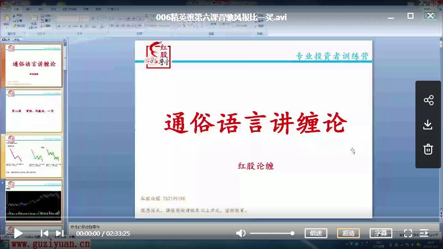 【红股缠论】红股缠论精品 精英班 视频讲座( 共25讲)