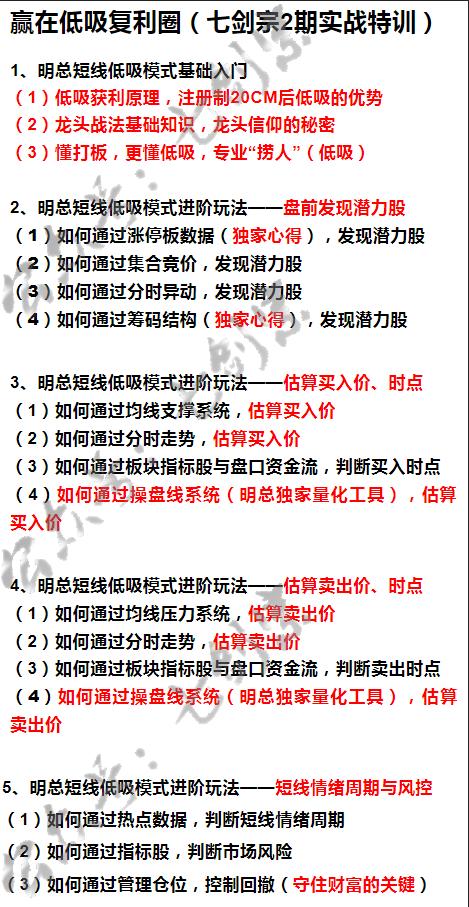 明总七剑宗实战特训营(2期)——赢在低吸复利圈